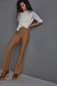 Essentials by Anthropologie The Essential Slim Flared Trousers in Taupe