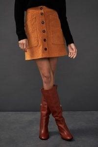 Anthropologie Cordelia Cord Mini Skirt | orange corduroy skirts | 70s vintage style fashion