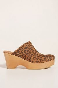Anthropologie Hanna Heeled Clogs | 70s style leopard print clog | vintage seventies inspired shoes