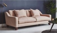 Banbury range – deep sofa with slim curved arms, leather and fabric