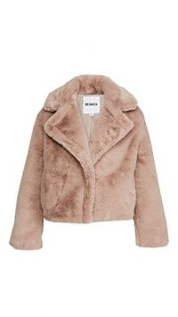 BB Dakota Big Time Plush Jacket light taupe ~ faux fur winter jackets
