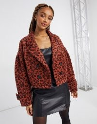 BB Dakota leopard brushed jacquard jacket in rust ~ animal print winter jackets