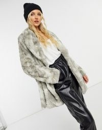 BB Dakota tie dye faux fur coat in grey ~ luxe style winter coats