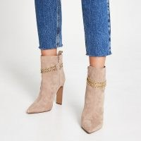 RIVER ISLAND Beige chain high heel boots / point toe boots