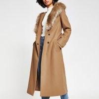 RIVER ISLAND Beige faux fur hooded robe coat ~ neutral tie waist winter coats