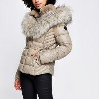 RIVER ISLAND Beige faux fur padded coat ~ hooded winter jackets ~ fitted coats