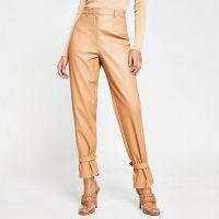 River Island Beige faux leather cuff high waist trousers