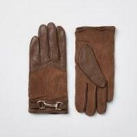 RIVER ISLAND Beige leather RI gloves ~ horsebit detail gloves