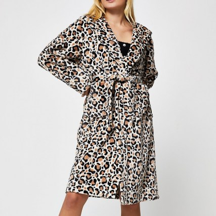 RIVER ISLAND Beige leopard print plush robe / hooded animal print robes / nightwear - flipped