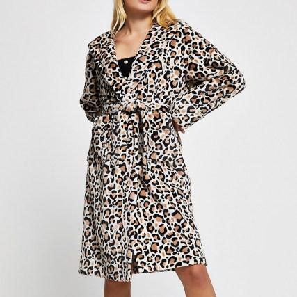 RIVER ISLAND Beige leopard print plush robe / hooded animal print robes / nightwear