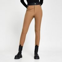 RIVER ISLAND Beige ponte high waist button trousers ~ neutral skinnies