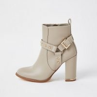 RIVER ISLAND Beige PU block heel boots – faux leather buckle detail boot