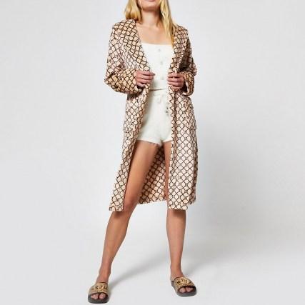 RIVER ISLAND Beige RI monogram plush robe / tie waist robes / logo print nightwear - flipped