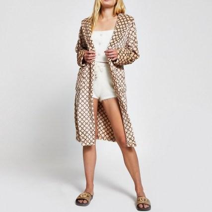 RIVER ISLAND Beige RI monogram plush robe / tie waist robes / logo print nightwear