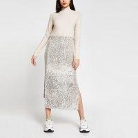 RIVER ISLAND Beige sequin jumper dress / sequinned side split dresses