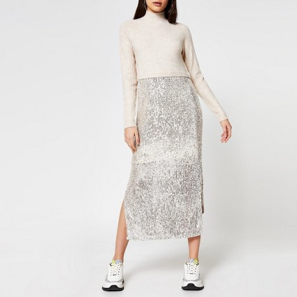RIVER ISLAND Beige sequin jumper dress / sequinned side split dresses - flipped