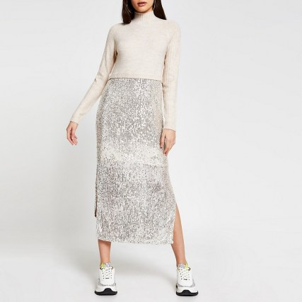 RIVER ISLAND Beige sequin jumper dress / sequinned side split dresses