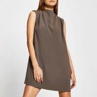 RIVER ISLAND Beige sleeveless drape neck shift mini dress ~ loose fit dresses