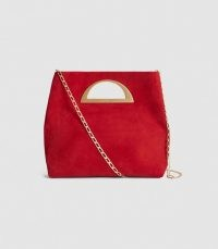 REISS BELGRAVIA SUEDE FOLD OVER CLUTCH BAG RED – glamorous bags