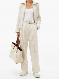 BRUNELLO CUCINELLI Belted cotton-blend wide-leg trousers | light grey casual pants