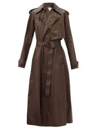 BOTTEGA VENETA Belted brown-leather trench coat ~ wrap front winter coats