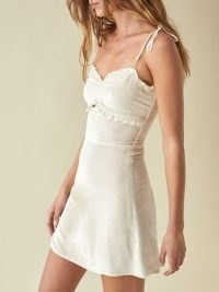 Reformation Bev Dress in Almond – frill trimmed skinny strap dresses
