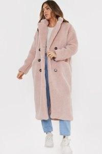 BILLIE FAIERS BLUSH TEDDY BORG FUR LONGLINE COAT ~ pink textured coats ~ winter outerwear