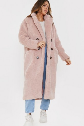 BILLIE FAIERS BLUSH TEDDY BORG FUR LONGLINE COAT ~ pink textured coats ~ winter outerwear - flipped