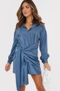 BILLIE FAIERS DUSKY BLUE DRAPE DETAIL SHIRT DRESS ~ celebrity inspired going out dresses