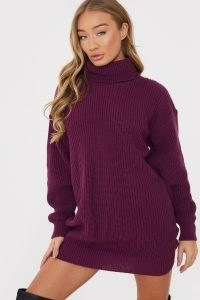 BILLIE FAIERS PLUM ROLL NECK KNITTED DRESS | deep-purple high neck sweater dresses | winter knitwear
