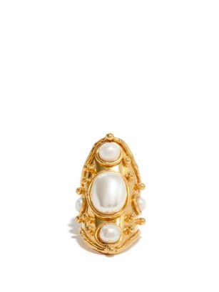 SYLVIA TOLEDANO Bizance pearl and gold-plated brass ring ~ elongated statement rings ~ boho jewellery ~ bohemian accessories - flipped