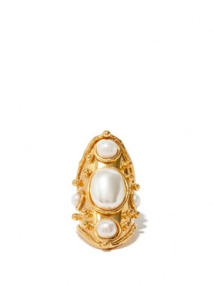 SYLVIA TOLEDANO Bizance pearl and gold-plated brass ring ~ elongated statement rings ~ boho jewellery ~ bohemian accessories