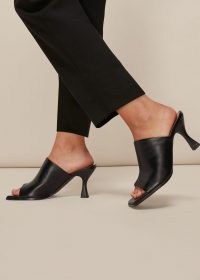WHISTLES AERIN SQUARE TOE MULE / black flared heel mules / squared off toe shoes