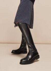 WHISTLES ALLEN STRETCH KNEE HIGH BOOT / black chunky sole winter boots