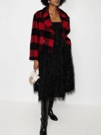 GANNI check-pattern double-breasted jacket / black and red checked jackets / bold checks