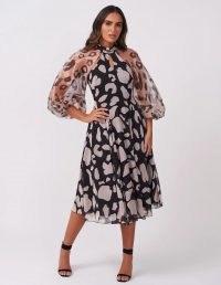 FOREVER UNIQUE Black & White Leopard Print Sheer Midi Dress / monochrome animal print occasion dresses / party wear
