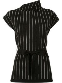 Proenza Schouler knitted pinstripe pattern top | tie waist tops | asymmetric neckline