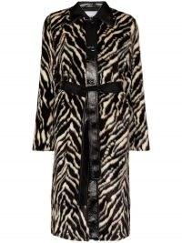 STAND STUDIO Aurora faux-fur midi coat / zebra print winter coats / vintage style glamour