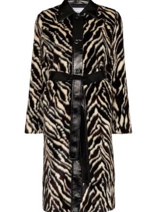 STAND STUDIO Aurora faux-fur midi coat / zebra print winter coats / vintage style glamour - flipped