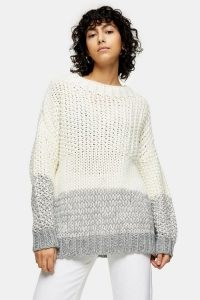 Topshop Black And White Chunky Three Stripe Knitted Jumper | drop shoulder jumpers