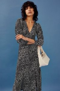 Topshop Black And White Spot Full Sleeve Plunge Midi Dress | monochrome deep V neck dresses