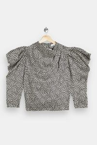 Topshop Black And White Star Print Cowl Neck Blouse | puff sleeve blouses