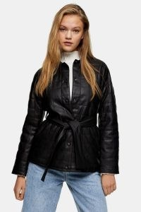 TOPSHOP Black Belted Quilted PU Jacket – faux leather tie waist jackets