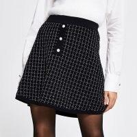 RIVER ISLAND Black boucle tweed mini skirt ~ A-line skirts