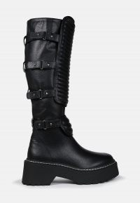 MISSGUIDED black calf high padded buckle chunky boots – multi buckled boot
