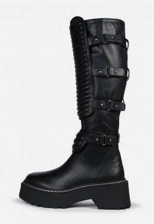 MISSGUIDED black calf high padded buckle chunky boots – multi buckled boot - flipped