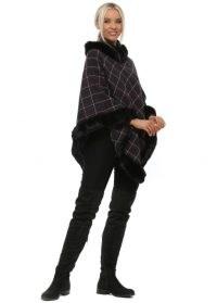 YU&ME Black Check Faux Fur Asymmetric Poncho ~ fur trimmed ponchos