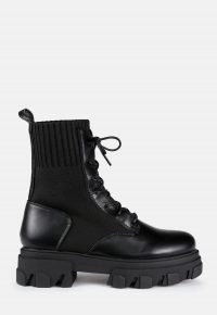 MISSGUIDED black chunky sole knitted lace up ankle boots ~ thick sole winter outerwear