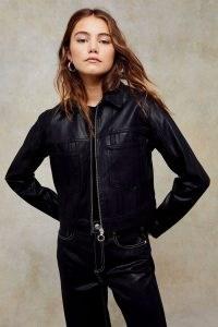 TOPSHOP Black Coated Denim Zip Jacket ~ cool casual style ~ jackets