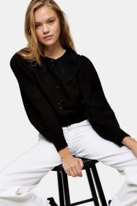 Topshop Black Crochet Collar Knitted Cardigan | cardigans with collars